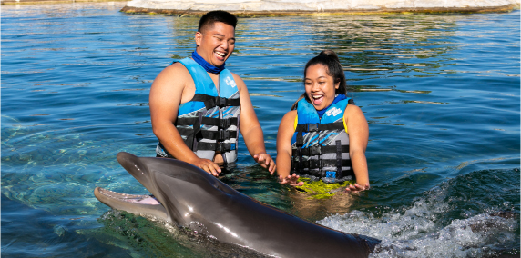 two people in dolphin pool with dolphin