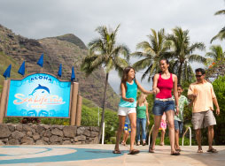 A family of four walking in to sea life park
