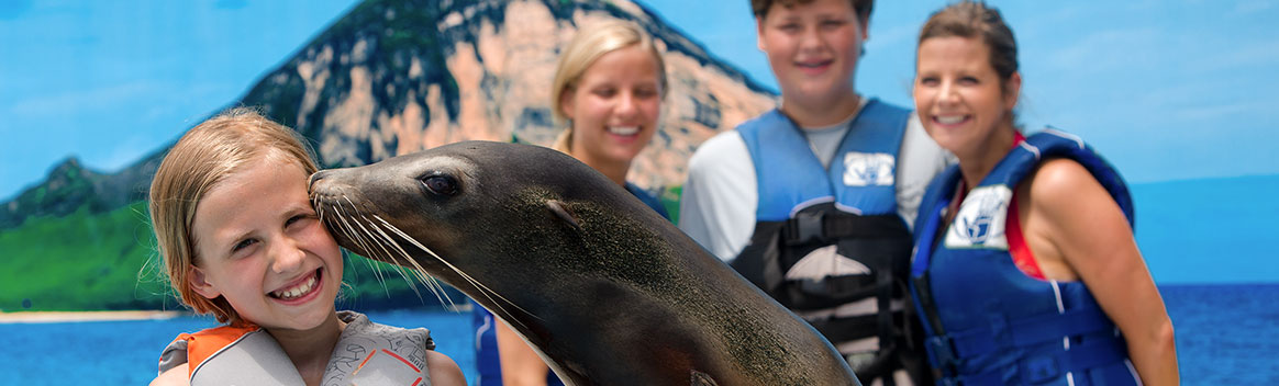 Girl being kissed by sea lion
