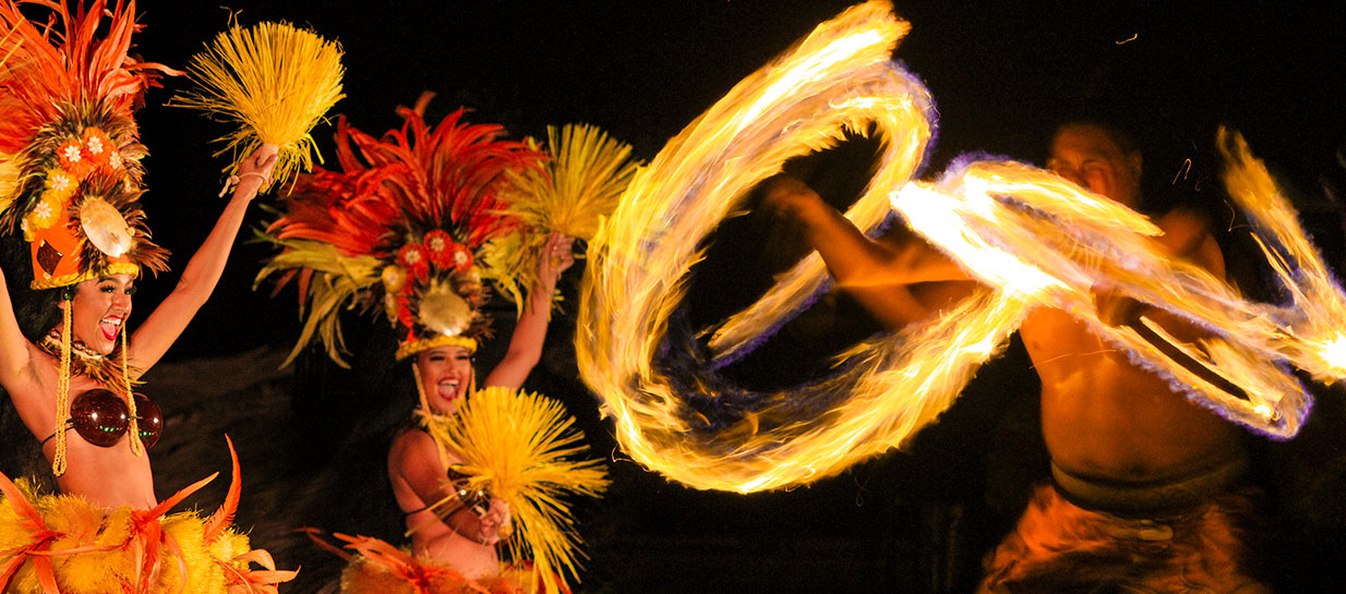 Dancers performing at a luau