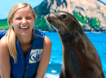 A young girl next to a sea lion