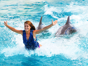 a young girl getting pushed by feet from two dolphins