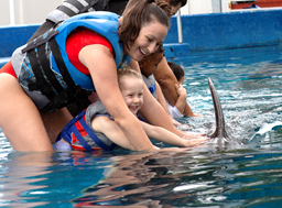Mom and daughter petting dolphin